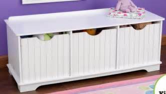 New Wooden 3 Bin Storage Bench Toy Kids Room Bedroom