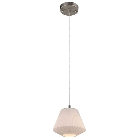 Blown Glass Mini Pendant Lights Westinghouse 1 Light Brushed Nickel Adjustable Mini Pendant With Blown White Glass Shade