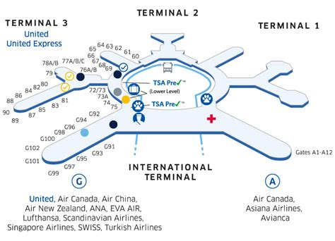 san francisco map with airport sfo airport map united airlines