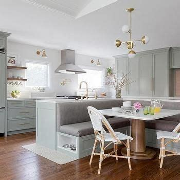 kitchen island with l shaped dining banquette kitchen in