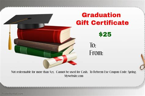 graduation gift certificate template free graduation gift certificate template postermywall