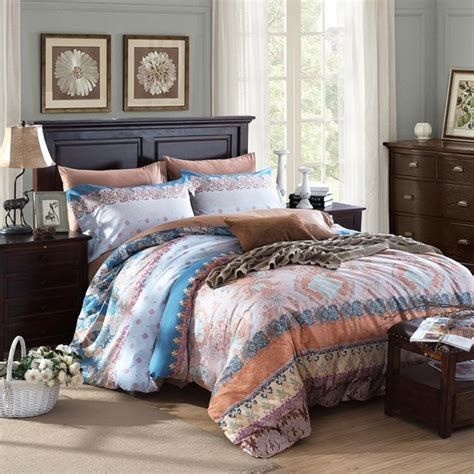 western style bedding brown blue and beige vintage western style gypsy themed