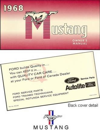 1968 Ford Mustang Owner S Manual The Motor Bookstore