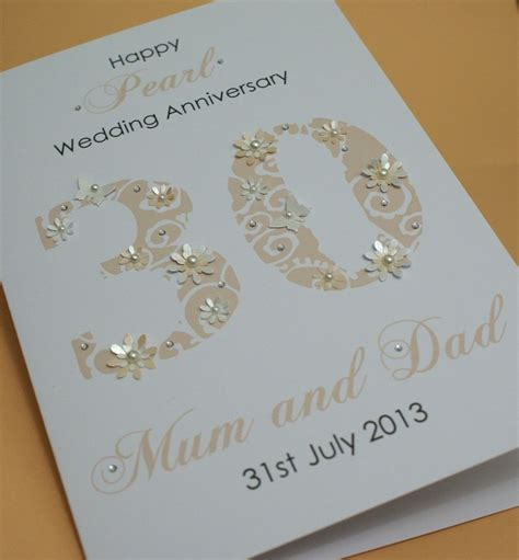 Handmade Wedding Anniversary Cards - large handmade personalised 30th pearl wedding anniversary