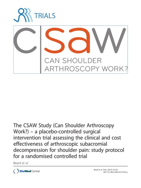a placebo controlled trial of oral fingolimod in relapsing the csaw study can shoulder arthroscopy work a