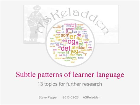 pattern of research questions subtle patterns of learner language 13 topics for further