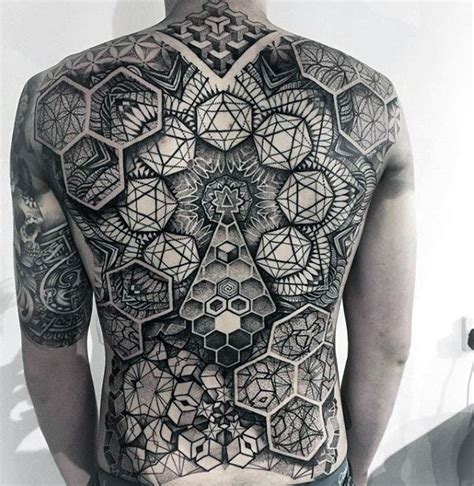 40 geometric back tattoos for men dimensional ink ideas