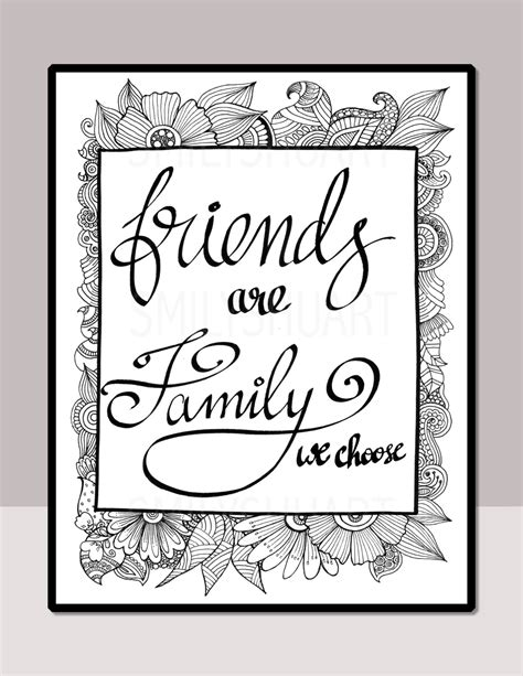 printable mindfulness quotes friends are family we choose printable quote coloring