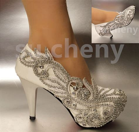 Wedding Shoes Size 5 by 2 3 Quot 4 Quot Lace White Ivory Wedding Shoes Bridal