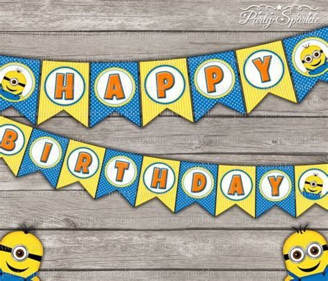 instant quot happy birthday quot bunting banner despicable minions digital printable pdf
