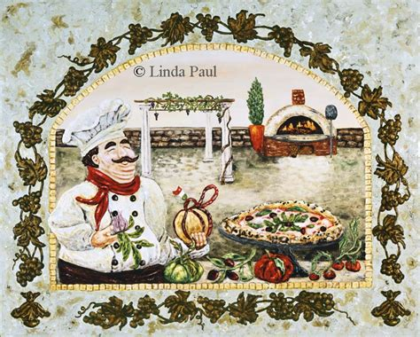 italian pizza kitchen artwork on canvas and tile by paul