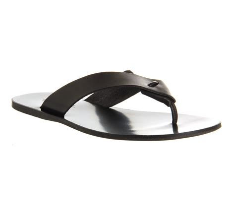 black mens sandals mens poste crixus classic black leather sandals ebay