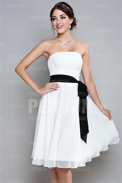 Robe Fluide Mousseline Blanche - robe de cocktail courte 224 a ligne sans bretelle longue aux