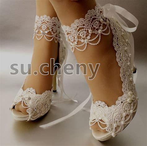 Bridal Shoes For by 3 Quot 4 Heel White Ivory Satin Lace Ribbon Open Toe Wedding