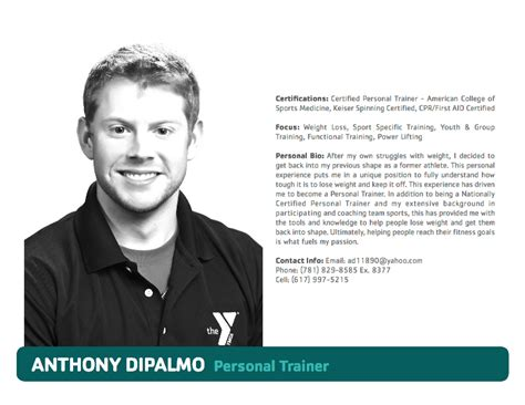 bio exles for personal trainers south shore ymca