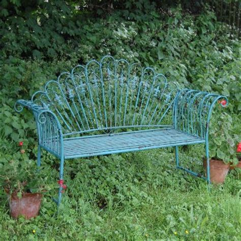 shabby chic garden bench garden furniture shabby chic metal bench vintage look bench blue antique chair ebay