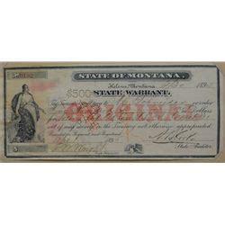 Montana Warrant Search State Of Montana Warrant 3 30 1895