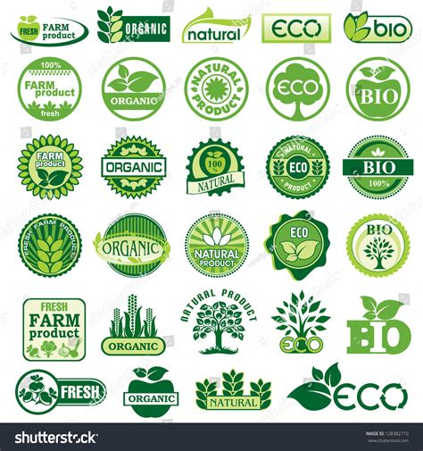design for the environment label set vector labels emblems ecology environment stock vector