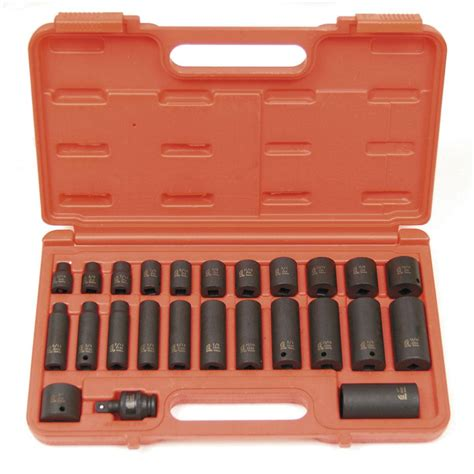 Kunci Shocket Set 25 Pcs Kenmasteraxlwrench sunex 3 8 in drive sae master impact socket set 25 3325 the home depot