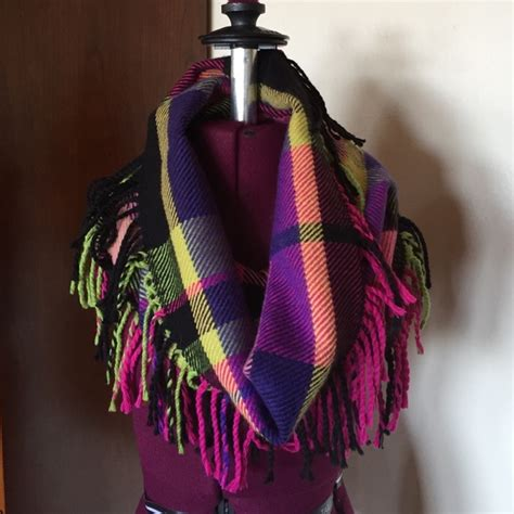 64 v fraas accessories plaid fringe infinity scarf