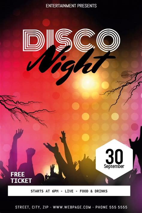 disco flyer template 36 best and nightclub posters images on