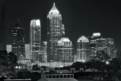 atlanta skyline black and white wallpaper atlanta black and white night photograph by frozen in time