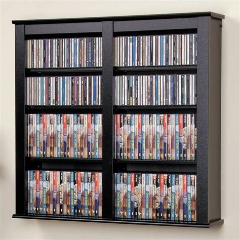 floating cd dvd wall media storage rack in black