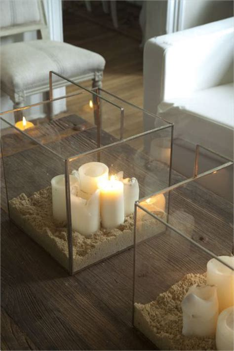 Glass Box Candle Holder I The Big Square Glass Containers Filled With Sand