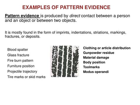 exles of pattern evidence ppt chapter 2 types of evidence powerpoint