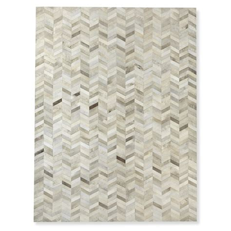 Hide Rugs Pieced Chevron Hide Rug Gray Williams Sonoma