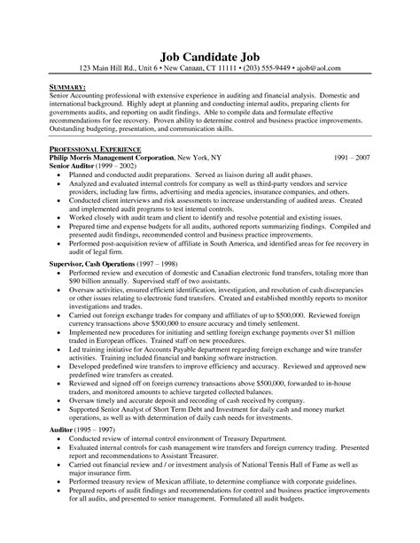 Audit Manager Sle Resume by Senior Auditor Resume Resume Ideas