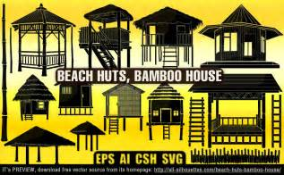 beach huts bamboo house silhouettes