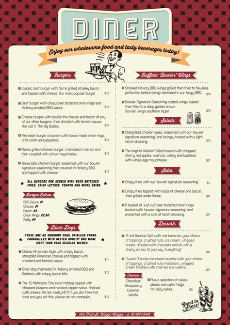 521 Best Restaurant Menu Design Images On Pinterest 50s Diner Menu Templates Free