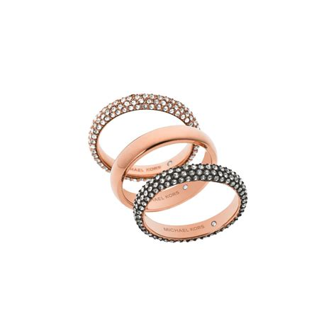 michael kors pav 233 gold tone ring stack in pink lyst