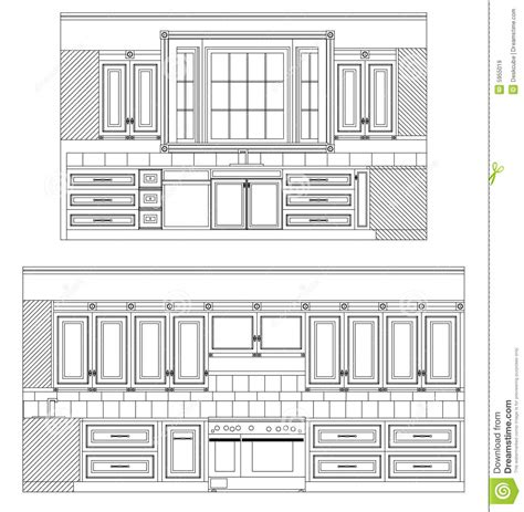kitchen cabinet design drawing kitchen elevation line drawing cabinets drawers appliances vector home kitchen drawing royalty free stock images