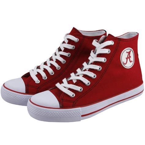 alabama football shoes alabama crimson tide crimson canvas hi top tennis shoes