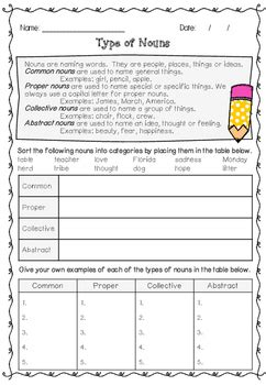 types of noun worksheet nouns worksheet with answers common proper collective abstract nouns