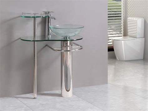 modern bathroom vanities pedestal vessel glass furniture sink w bath faucet 18 ebay