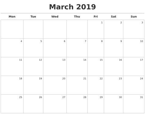 Calendar 2019 March March 2019 Calendar Maker