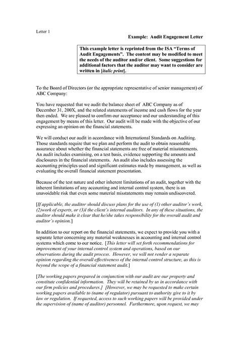 audit engagement letter template collection letter