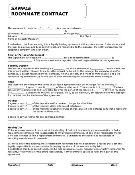 Roommate Contract Template printable sle roommate agreement form real estate