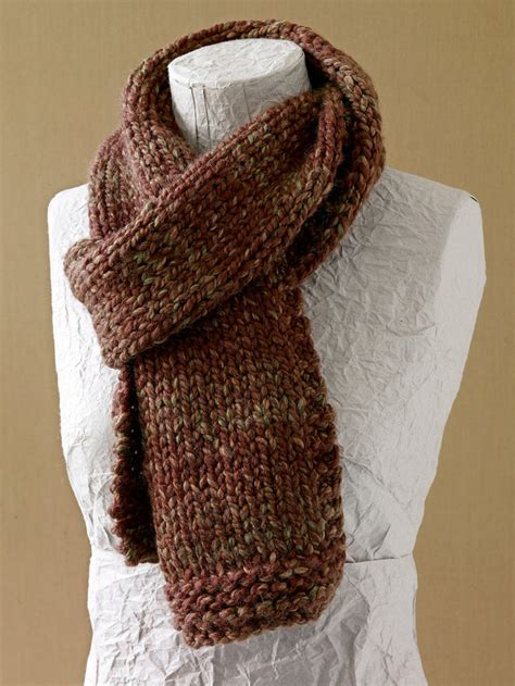 knitting pattern scarf thick wool basic scarf in lion brand wool ease thick quick l0411b