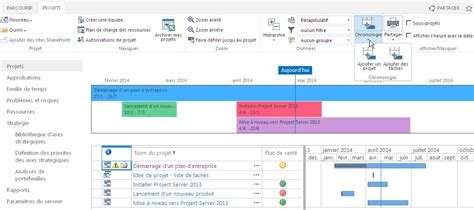project server the timeline in