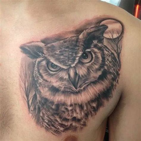 first tattoo pain my great horned owl with trees and a moon