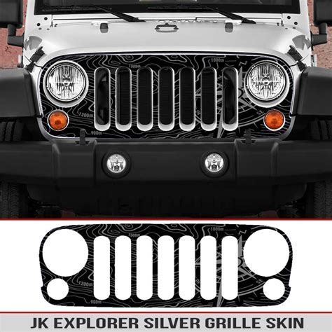 jeep grill skin jeep wrangler jk grille skin explorer map alphavinyl
