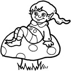 This coloring page features a cute looking elf sitting on a mushroom