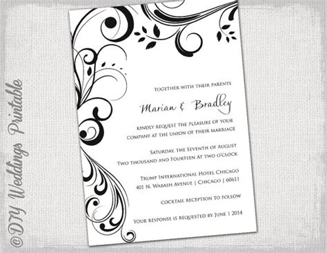 invite template word wedding invitation templates black and white