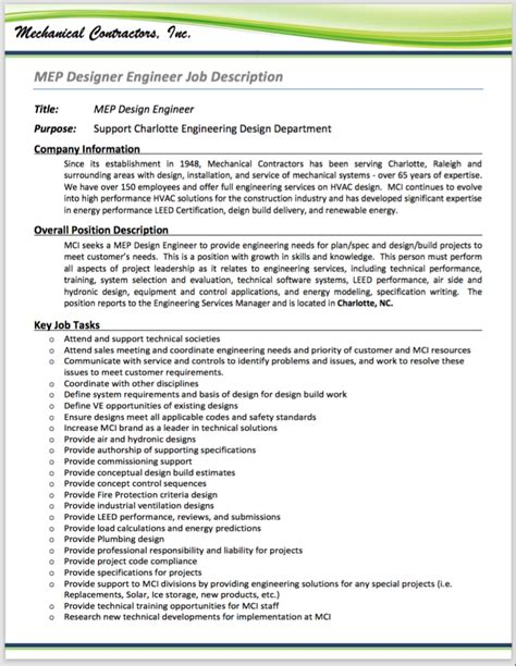 design engineer job responsibilities hvac systems designer mep design engineer job