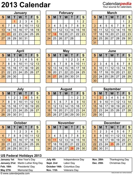 Printable Calendar Word 2013 2013 Calendar With Federal Holidays Excel Pdf Word Templates