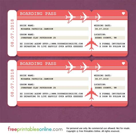 boarding pass place card template free printable boarding pass save the date template